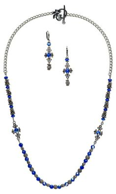 Single-Strand Necklace and Earring Set with Celestial Crystal® Beads, Gunmetal-Plated Aluminum Beads, Oxidized Pewter Beads and Gunmetal-Plated Brass Links