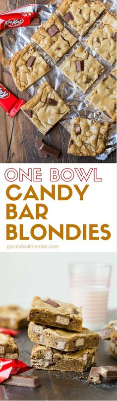 These One Bowl Candy Bar Blondies are the perfect sweet to make with your leftover candy!
