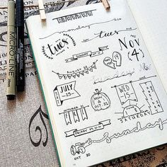 Bring your weekly spreads and collections to life by testing out some of these creative Bullet Journal header ideas for yourself. Bullet Journal Headers, Bullet Journal Banner, Bullet Journal Junkies, Bullet Journal Notebook, Bullet Journal Aesthetic, Bullet Journal Inspo, Bullet Journal Ideas Pages, Bullet Journal Halloween, Drawing Journal