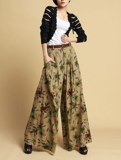 Coffee grounding flower pants women linen pants by happyfamilyjudy, $86.99