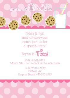 Milk and Cookies Baby Shower or Birthday Printable Party Invitation -  Fresh Chick Designs. $15.00, via Etsy.