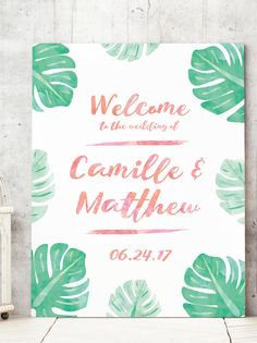 Tropical Wedding Welcome Sign with Watercolor Palm leaves for Tropical Wedding Theme