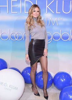 Heidi Klum Celebrates Launch of Her Swimwear Line in NYC!: Photo Heidi Klum plays around with her models at the launch of her new swimwear line at a Bloomingdale's store on Wednesday night (November in New York City. Black Leather Skirts, Leather Dresses, Black Tights, Heidi Klum, Keti Perri, Fall Chic, Celebrity Stars, Holiday Outfits, Mannequin