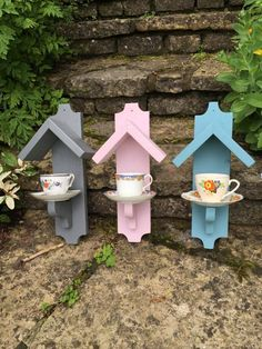 Lovely vintage teacup and saucer mounted on wooden plaque, painted in weatherproof paint.  Approx 40 X 10 cm A stunning and unusual addition to your garden or a lovely gift #woodenbirdhouses