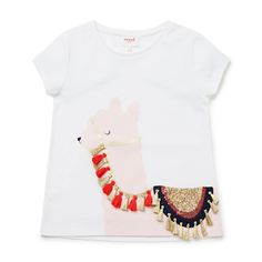 100% Cotton. Short sleeve t-shirt features front placement Lama print with sequins and tassels. Regular fitting silhouette. Available in White.