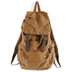 Pellor Vintage Canvas Leather Hiking Travel Backpack Tote Bag (Brown)
