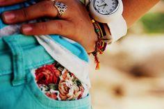 Floral patched denim pockets