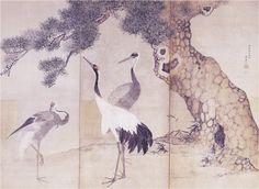 Detail. Cranes and Pines byobu. Maruyama Okyo. Japanese. Eighteenth c. 円山応挙の絵 - Fsの独り言・つぶやき
