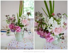 Pretty country wedding flowers - village hall wedding - Lancashire wedding photography by Joanne Spencer