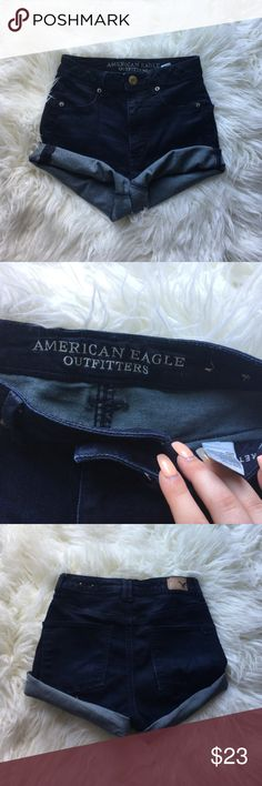 SPRING COLLECTION denim shorts SPRING COLLECTION 🌻 AE dark denim shorts, size 2, worn once, comfy, hi-rise, price is firm ☺️ American Eagle Outfitters Shorts Jean Shorts