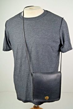 Vintage COACH 021 Black Leather Turnlock Flap Crossbody Shoulder Handbag Purse #Coach #ShoulderBag