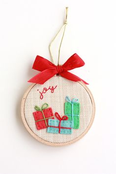"Gifts bring Joy 3"" Hoop Art Christmas Ornament. Good kids craft"