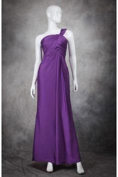 $104.23 One Shoulder Solid Color Ruffle Ankle Length Fashion Bridesmaid Dress