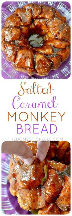 Salted Caramel Monkey Bread: cinnamon sugar-crusted pillows of dough covered in a sticky, gooey, sweet salted caramel sauce. So easy, only a few ingredients & totally IMPRESSIVE!
