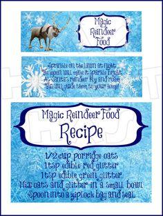 Printable Sven Frozen Magic Reindeer food bag toppers labels & recipe INSTANT DOWNLOAD digital clip art :: My Heart Has Ears