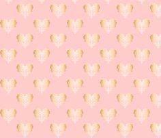 Diamondhearts pink/gold fabric by ziccafabrics on Spoonflower - custom fabric