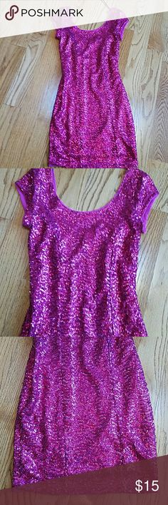 """H & M pink sequin dress My daughter wore this once, condition looks good, stretch dress says size 2 but this is tiny and more like a 0, lined, waist 11"""" laying flat, underarm to underarm 12.5"""", very form fitting and short H & M Dresses Mini"""
