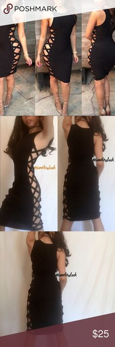 """Lace up strappy criss cross side bodycon dress @goguios (account manager) pics 2-4 in wearing xs pic 1 size sm •no trades  •SHIPS TOMORROW  •Brand new!   ❗️brand added for exposure!! If you don't know what that means ASK  We sell this in Timless Look Boutique - NWT  soft fabric- with a great top quality stretch :)  Not see through  visit """"Closet Rules"""" for more info - Timeless Look Men  @timelesslookmen NOW OPEN more info in closet  Missguided Dresses Midi"""