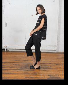 Uzinyc black broken stripe tunic and a-pant