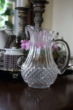 Stylish Vintage Clear Indiana Glass Pitcher by RomantiqueTouch, $18.00