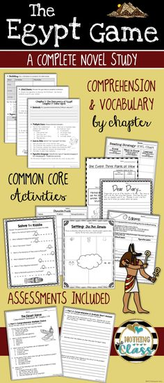 This novel study for The Egypt Game by Zilpha Keatley Snyder contains 150 pages of resources, including comprehension, vocabulary, Common Core-aligned reading response activities, assessments, and more.  You will find this novel study easy to use because the layout is predictable and student-friendly, while the questions and activities are easily adaptable for every learner. All activities have the Common Core code listed in the bottom corner.