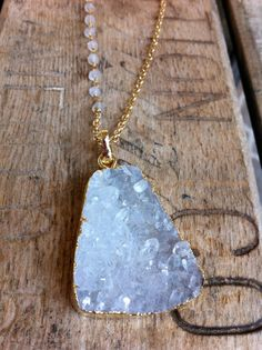 Gold Plated Clear Quartz Druzy Necklace