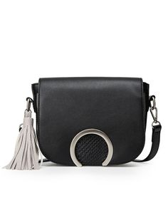 Ring Flap Crocodile Emobossed Tassel Bag - Black