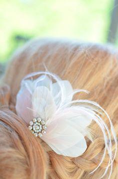 Feather Clip, Bridal Feather Fascinator, Ivory Feather Clip, Blush Feather Clip, Weddings, Accessories, Wedding Headpiece, Bridal Headpiece