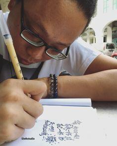 Brainstorming and doodling at kopi tiam before delivering art products 😬😉   www.facebook.com/Slothstudio