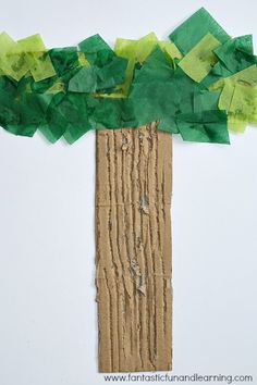 Use cardboard and tissue paper to make a T is for Trees Letter T Craft.