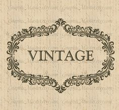 Vintage Label French Typography Vintage Collage by GraphicMaster, $1.00