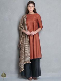 Rust Natural Dye Tussar Munga Kurta with Pockets by Jaypore Salwar Designs, Kurta Designs Women, Blouse Designs, Pakistani Dresses, Indian Dresses, Indian Outfits, Indian Attire, Indian Wear, Trendy Dresses
