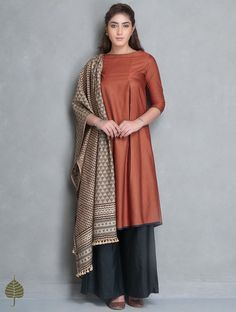 Buy Rust Natural Dye Tussar Munga Kurta with Pockets by Jaypore Silk Women Kurtas Online at Jaypore.com