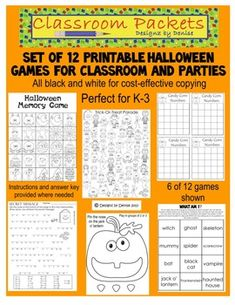 These fun games are perfect for your classroom or any Halloween party. Designed for use in kindergarten through 3rd grade. Getting ready for your Halloween party couldn't be easier with this set. Simply copy, grab a few supplies (dice, etc.) and you are ready to have fun! Includes 12 different games, all in black and white for cost-effective copying.