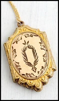 Antique Edwardian embossed gold locket, circa 1900. Via Diamonds in the Library.