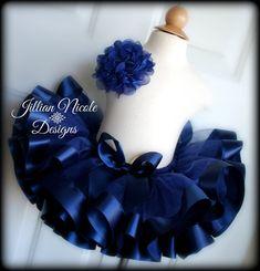 Navy Blue Ribbon Trim Tutu. Tutu Cute By Jill on Etsy. https://www.etsy.com/listing/251396162/ready-to-ship-navy-blue-ribbon-trim-tutu