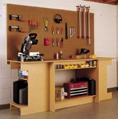 Workbench Plans Workbench plans The best source for woodworking workbench plans Workshop Jigs Workbenches Workbench with Wall Storage Woodworking Plan Woodworking Workbench, Woodworking Tips, Intarsia Woodworking, Woodworking Supplies, Industrial Workbench, Youtube Woodworking, Woodworking Equipment, Woodworking Joints, Woodworking Magazine
