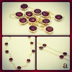 http://amazon.com/shops/amazinite  #modern #twist on a #classic #design. #genuine #gemstone #necklace. #bytheyard #remix. #garnet or #rubies #hand #set into #rich #14k #gold. #artisan #jewelry. #amazinite, #affordable #luxury.   http://stores.ebay.com/amazinite