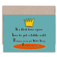 Wild Thing Birthday Card | Funny Birthday Card | Colorful Card | Celebration… Special Birthday Cards, Unique Birthday Cards, Funny Birthday Cards, Birthday Greetings, Birthday Celebration, Hallmark Cards, Kraft Envelopes, Color Card, A Funny