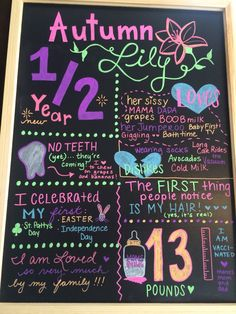 6 month birthday board chalkboard