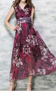 Bohemian Style Chiffon Sleeveless Maxi Dress