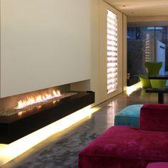 Contour LED strip floating fireplace
