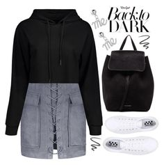 """""""back to dark"""" by meyli-meyli ❤ liked on Polyvore featuring No Name, Mansur Gavriel, L'Oréal Paris, black, Dark, hoodie and rosegal"""