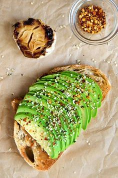 Roasted Garlic Avocado Toast with Hemp Seeds