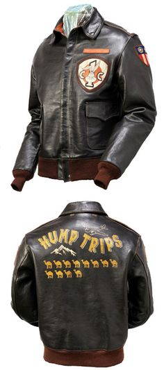 "WWII CBI jacket of a pilot that flew ""The Hump"" over the Himalayas. I love the dark leather with reddish-brown cuffs."
