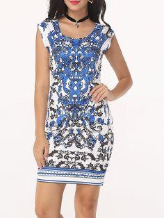 Round Neck Dacron Paisley Printed Bodycon Dress