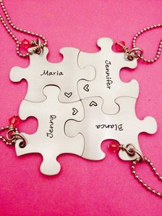 SALE!! Personalized Puzzle Piece Necklace set of 4 w/ stone -Bridesmaids - Best Friends - Hand Stamped by One27Designs on Etsy