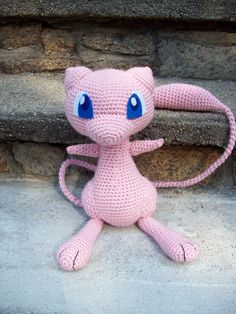 "Mew! So adorable Much quicker to make than Houndoom, too. Unfortunately you can't see it in the picture, but it does have three fingers on each hand. And the tail... the tail is 28"" long 10"" high a..."
