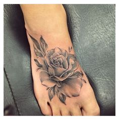 Rose Foot Tattoos ❤ liked on Polyvore featuring accessories and body art