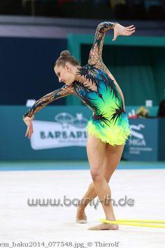 Melitina Staniouta, Belarus, European Championships Baku 2014. Melitina took the all-around bronze medal at the 2014 World Cup Final in Kazan.
